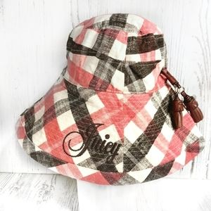 Juicy Couture - plaid linen cloth sun hat